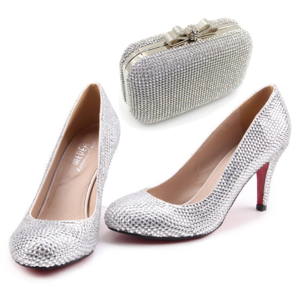 Handmade silver Clear crystal rhinestone shoes with clutch sparkling kit for wedding party prom any event pumps with handbag<br><br>Aliexpress