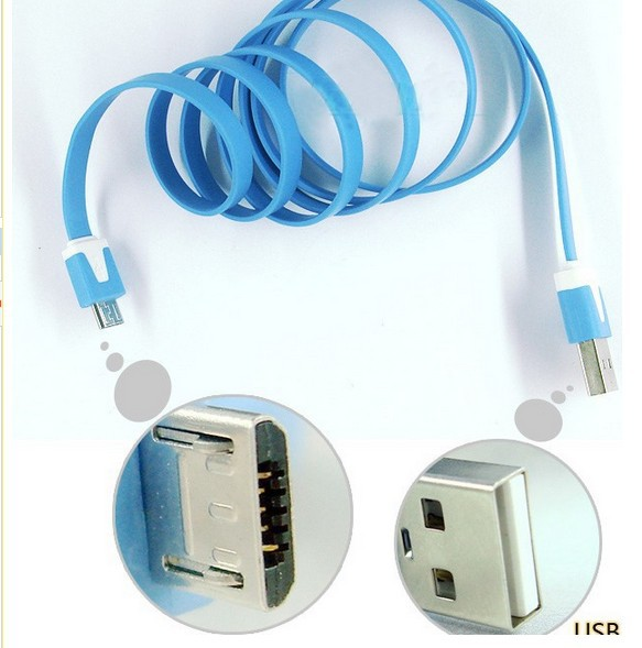 CN 10pcs/lot 2m Flat Type Micro 5 Pin USB Cable Data Sync Charging Charge For(China (Mainland))