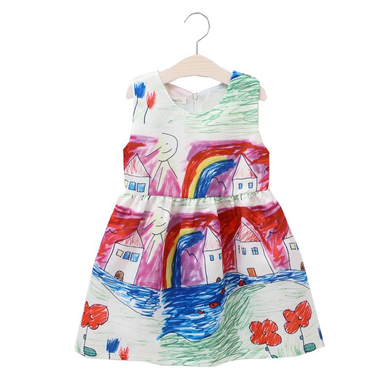 2016 Summer New Girl Dresses For Girls Cartoon Printed Dresses Children Clothing Baby Girls Party Kids Vestido Infantis 1-10Y(China (Mainland))