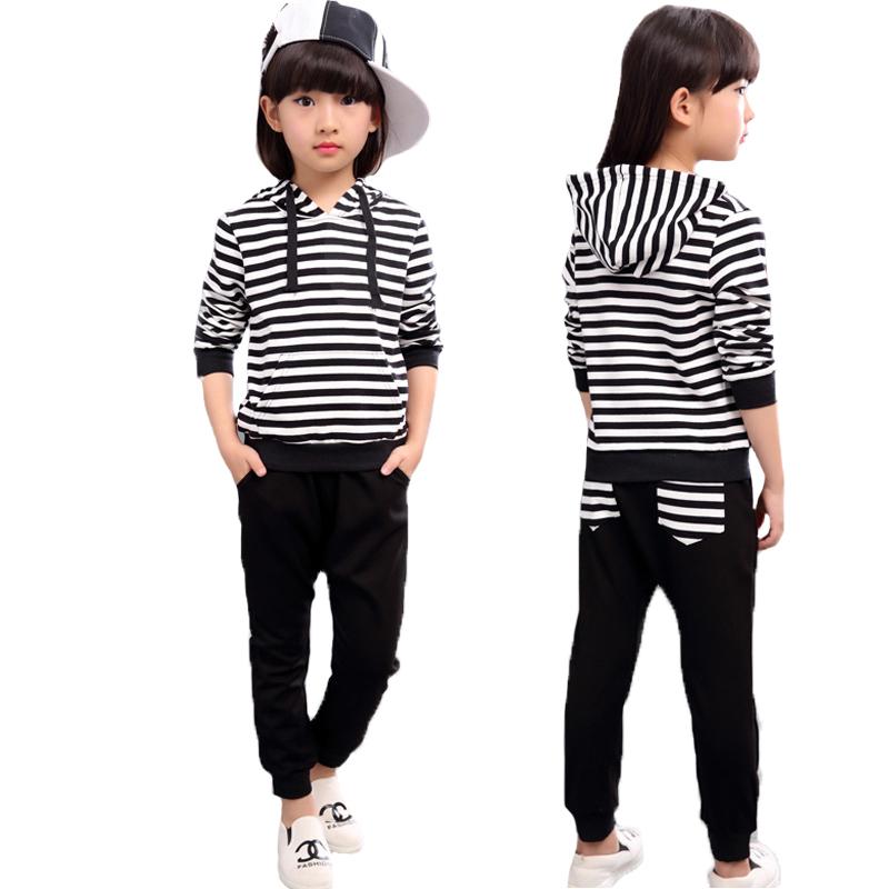 2016 Big Girl Clothing Set Stripe Hooded Sweatershirt Casual Pant Baby Girls Clothes Set Girls