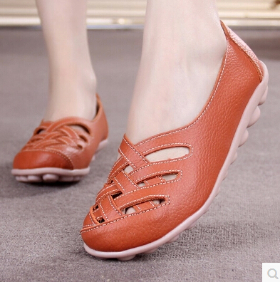 Women Summer Sandals Shoe 2017 New Female Fashion Genuine Leather Hollow Out Nurses Working Cow Muscle Ladies Flats Shoes 35-41(China (Mainland))