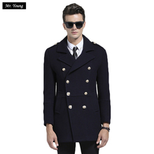 2016 Winter Top Quality Wool Men Trench Coats Double Breasted Slim Fit Long Business Casual Jacket Woolen Warm Luxury Brand Coat(China (Mainland))