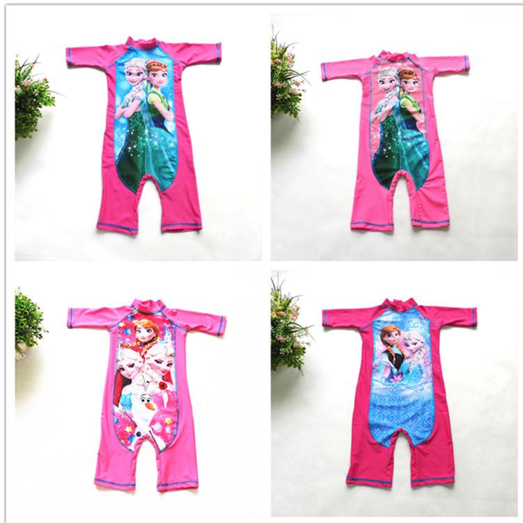 Original Brand 5pcs/lot 4-12yrs Little Girls Anna and Elsa Swimsuit,Elsa Rash guard trunk sun protection beach wear,elsa swim<br><br>Aliexpress