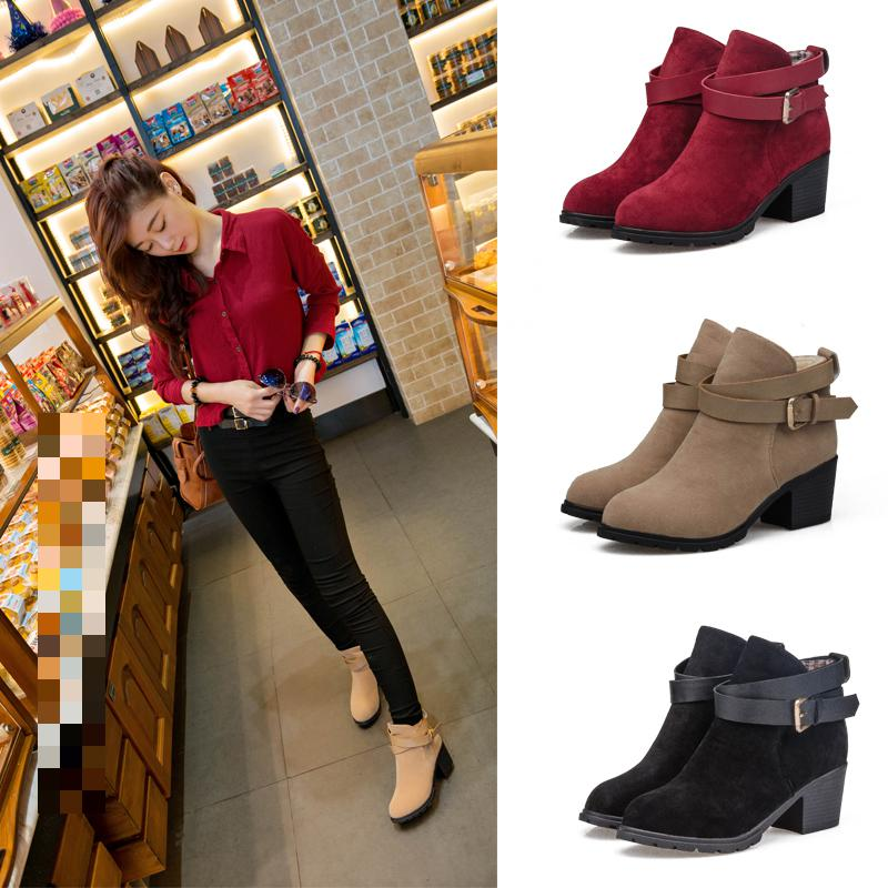 Free shipping Winter Tide Belt Buckle Short Barrel women Boots Thick Frosted British Martin Boots ankle short boots 35-39(China (Mainland))
