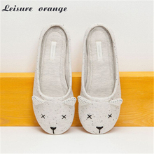 Cute Animal Cartoon Winter Home Slippers Women Indoor Cotton Shoes For Girls Ladies Female House Bedroom Floor Warm Flats 2017(China (Mainland))