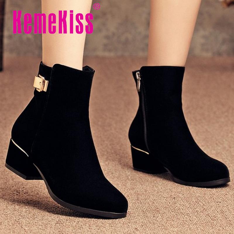 women high heel half short ankle boots martin fashion winter botas round toe warm footwear boot heels shoes P20046 size 34-40<br><br>Aliexpress
