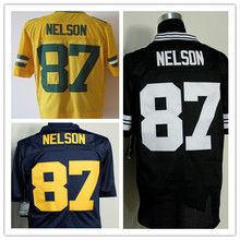 #87 Jordy Nelson Football Blue Black Yellow Jersey ( number&name is stitched)(China (Mainland))