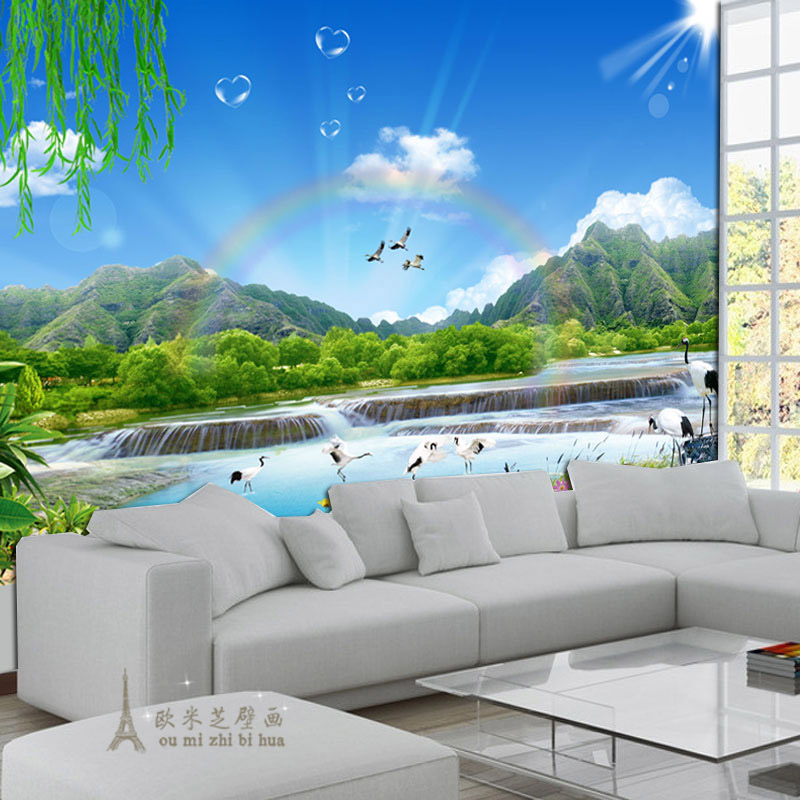 Buy blue sky white clouds natural scenery wallpaper for Scenery wallpaper for bedroom