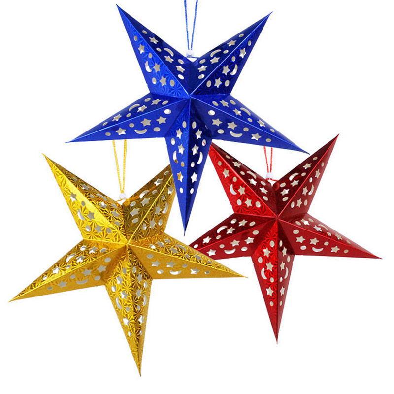 Christmas Star Decorations Christmas Party Tree Laser paper Star String Hanging Decoration Ornament Happy Gifts MR0040(China (Mainland))