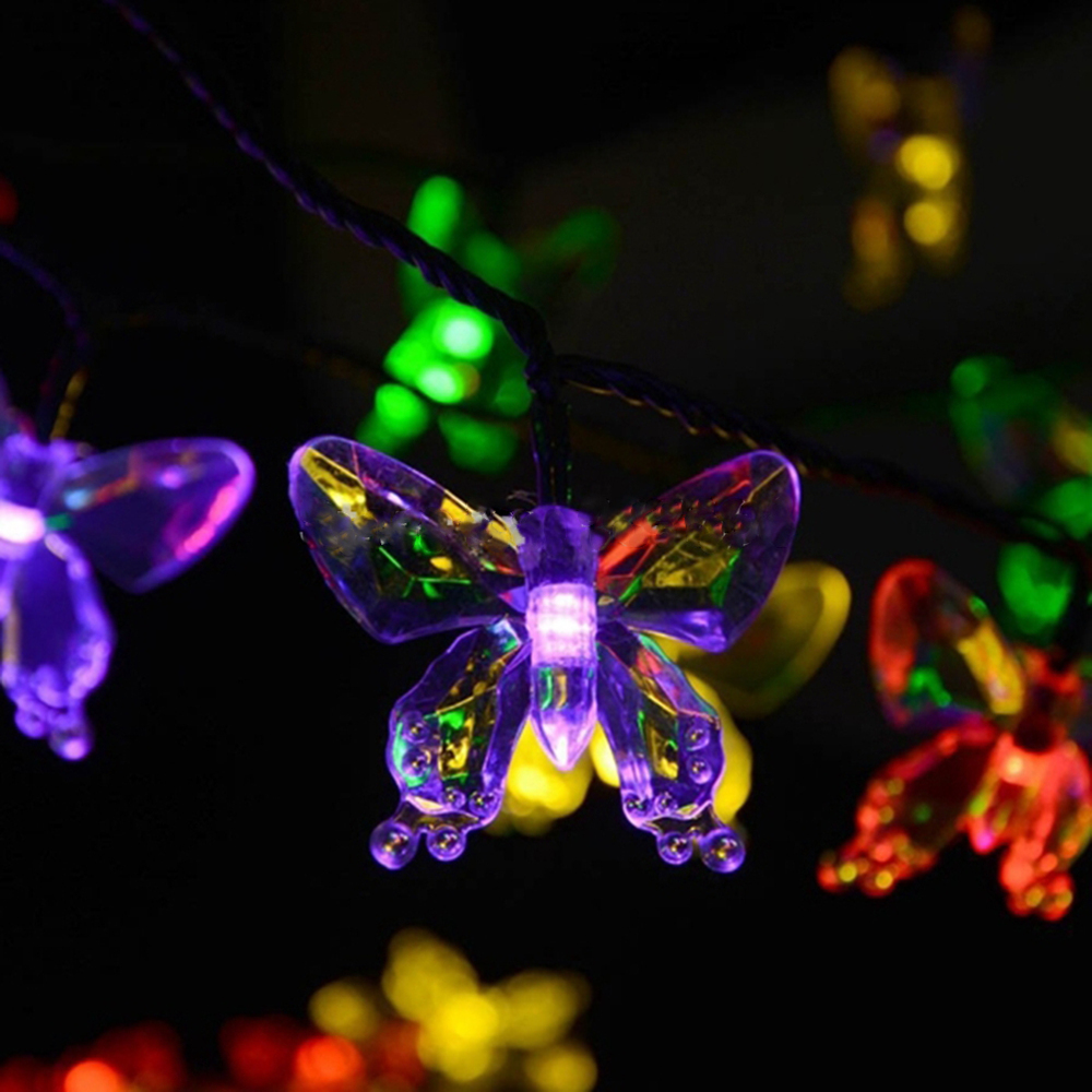 Waterproof Butterfly Style 20-LED Solar LED Decorative Garden Outdoor Christmas Light(China (Mainland))