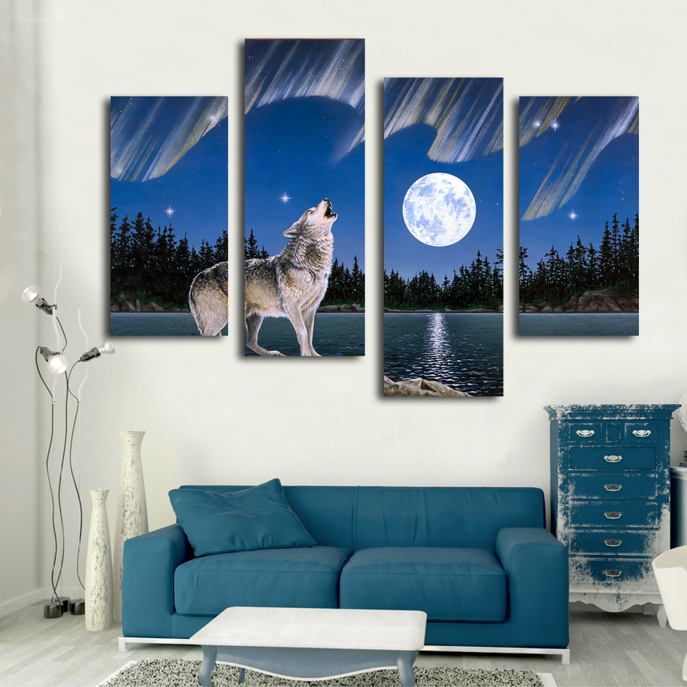 Wild roaring wolf picture natural animal canvas prints art painting on living room(China (Mainland))