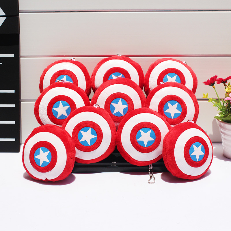 Здесь можно купить  300pcs/lot Superheroes The Avengers Captain America Shield Plush Keychain Pendants Stuffed Dolls Soft Toy With Ring 9cm  300pcs/lot Superheroes The Avengers Captain America Shield Plush Keychain Pendants Stuffed Dolls Soft Toy With Ring 9cm  Игрушки и Хобби