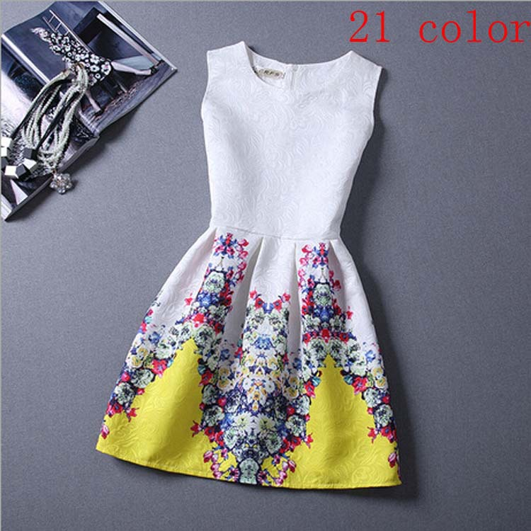 21 Colors Women Summer Style Dress Vintage Sexy Women'S Party Dress Vestidos Plus Size Printing Women'S Clothing Short Dresses(China (Mainland))