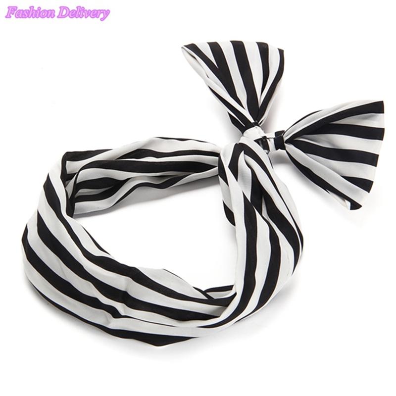 50pcs/Lot Women's Chiffon Bowknot Hair Hoop Headband HairBand Rabbit Bunny Ears Abstract Stripe Polka Dot Headband Free Shipping(China (Mainland))