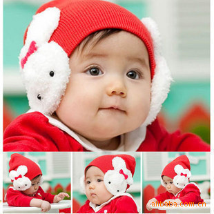 2015 New Style in Spring and Autumn Rabbit Hat Infant Warm Ear Protector Cap,Unisex Baby Caps  Mystery Gift Free Shipping