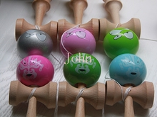 Free Shipping 2015 Pearlescent PU Paint tips ball kendama Professional game top quality smiley face 20pcs/lot(China (Mainland))