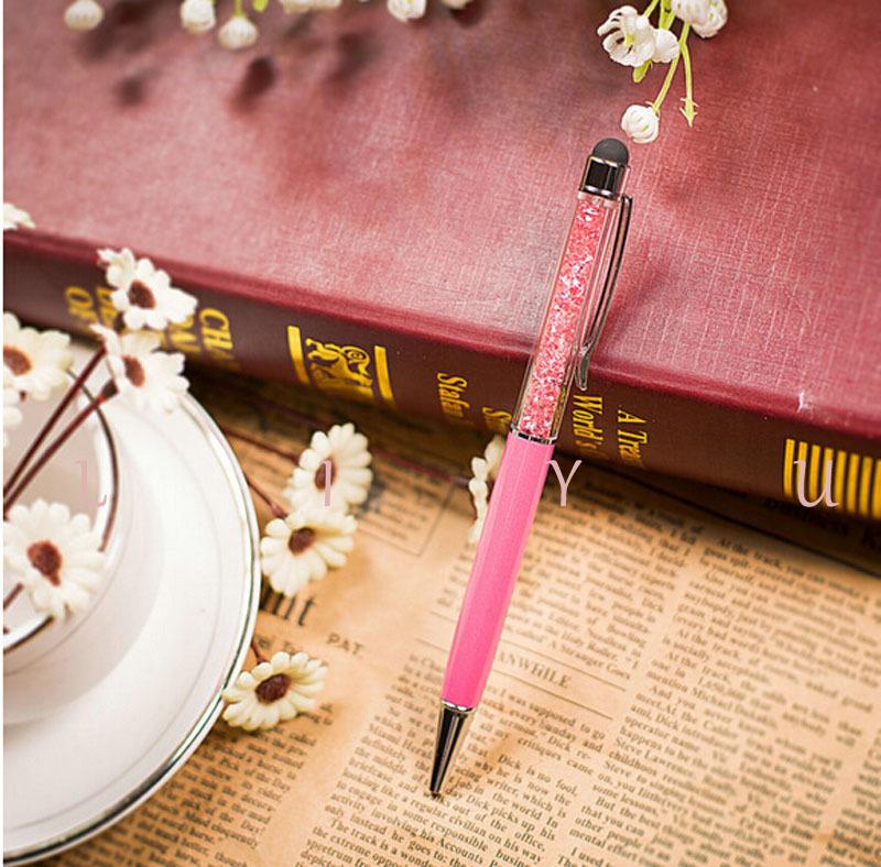New Promotion Kawaii Ballpoint Pen Crystal Small Diamond Signature Touch ballpoint pens Writing Supplies(China (Mainland))
