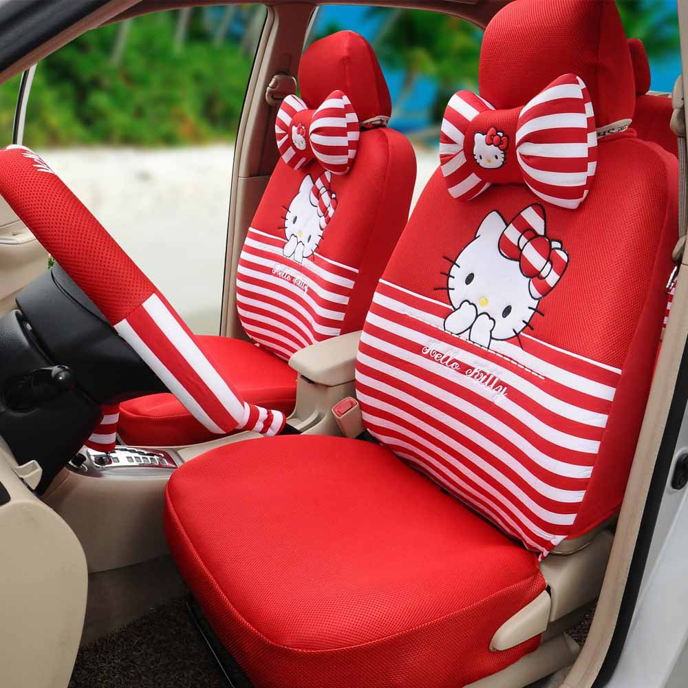 Hello kitty car seat covers ice silk 18pcs red universal car seat cushion car steering wheel cover five person seat cover(China (Mainland))