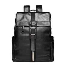 Men PU Leather Vintage Preppy Style Backpack Fashion Leisure Male School Sport Black Day Travel Bag