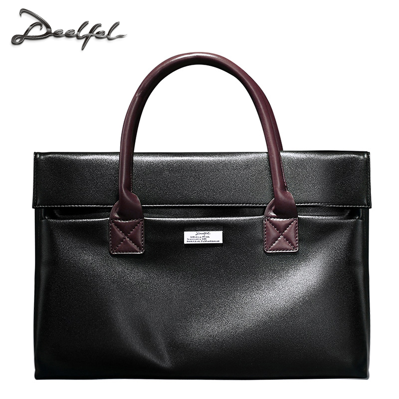 DEELFEL Synthetic Leather Briefcases Men Business Handbags Soft Cowhide Bags Laptop Case High Quality Bags for Male(China (Mainland))