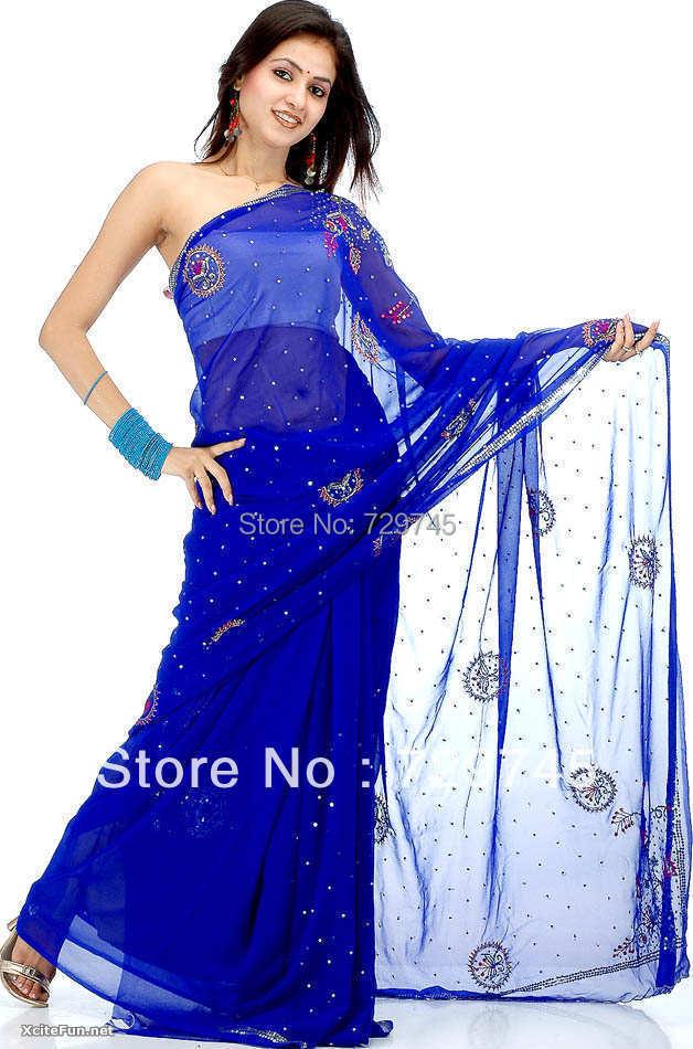 2015 Hot Sale Saree Beading Sequin Sheath One Shoulder Full Sleeve Indian Sheer Royal Blue Chiffon Prom Dress(China (Mainland))