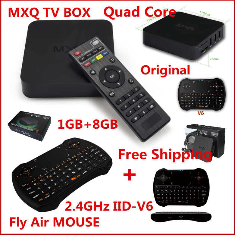 (5PCS)Original KODI Android Quad Core MXQ TV BOX 1GB/8GB Amlogic S805+(5PCS)V6 2.4GHz Wireless Fly Air Mouse Remote Control Game(China (Mainland))