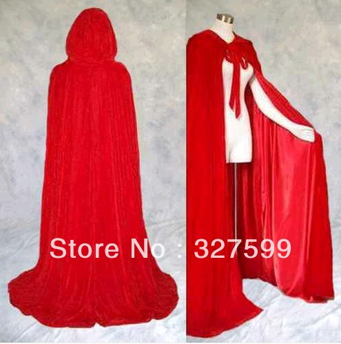 Little Red Riding Hood Lined Red Velvet Cloak Cape Wedding Wicca Medieval SCA Free shipping Gothic Halloween Magic(China (Mainland))
