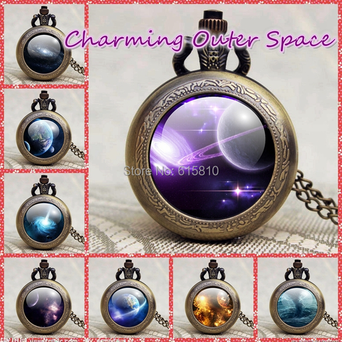 Outer Space Pictures Pocket Watch Pendant Necklace, Men Women middle size Pocket Watch,2015 Hot Sale Gift Quartz Watch Handmade(China (Mainland))