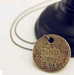 New design retro love words round coin necklace sweater chain X4280