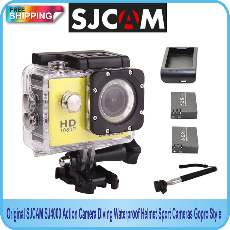Free shipping!!Original SJCAM SJ4000 Action Camera Diving Waterproof Sport Cameras Gopro Style Extra 2 Batteries+Monopod+Charger(China (Mainland))