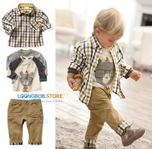 New baby boy Clothing set 3 pcs suits t-shirt+plaid overshirt+pants Autumn Spring children wearing clothes casual set kids suit