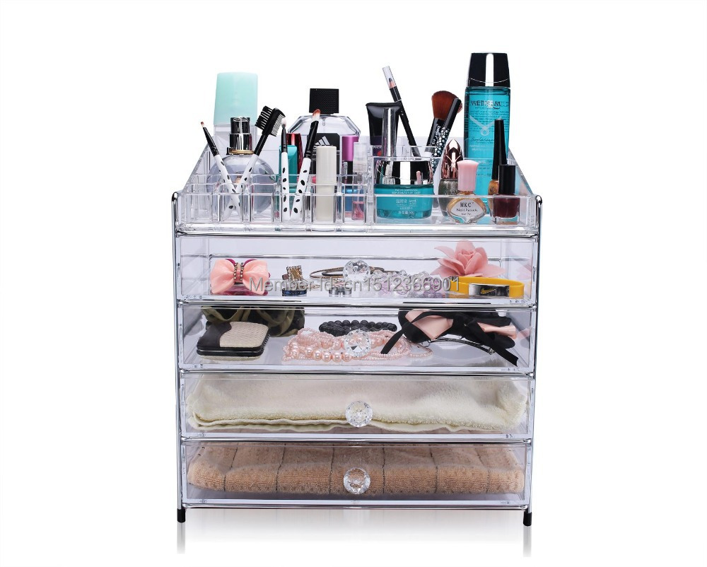 Free shipping new large acrylic drawers organizer makeup Makeup organizer ideas