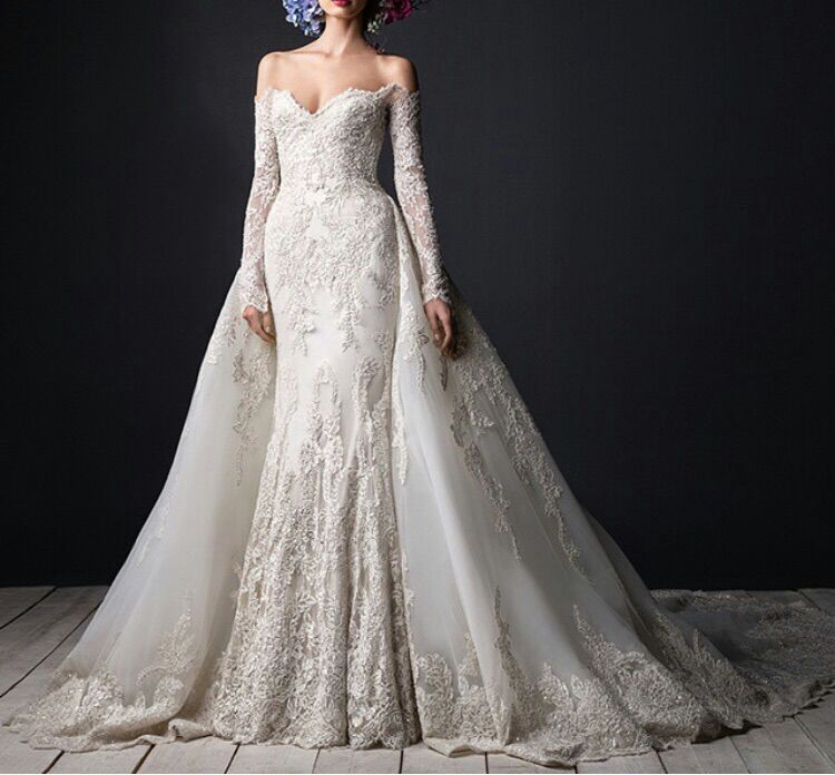 Long sleeve off shoulder wedding dress for Detachable train wedding dress