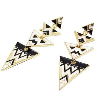 Shopping festival Fashion elegant painted enamel Triangle Earrings Personality alloy jewelry  Free shipping ! EH2011
