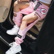 Womens Sweatpants 2015 Street Style Cut Out Harajuku Destroyed Joggers for Woman Ladies Wide Leg Distressed Sports Jogger Pants(China (Mainland))