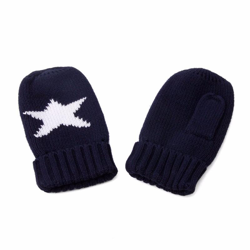 3Pcs Kids Boys Navy Blue Print Children Winter Star knitted Scarf Glove Set