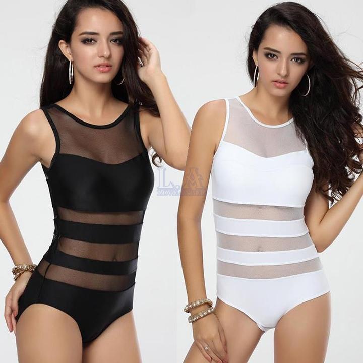 где купить Женский закрытый купальник Womens swim wear 2015 bain/bk mesh bathing suit по лучшей цене