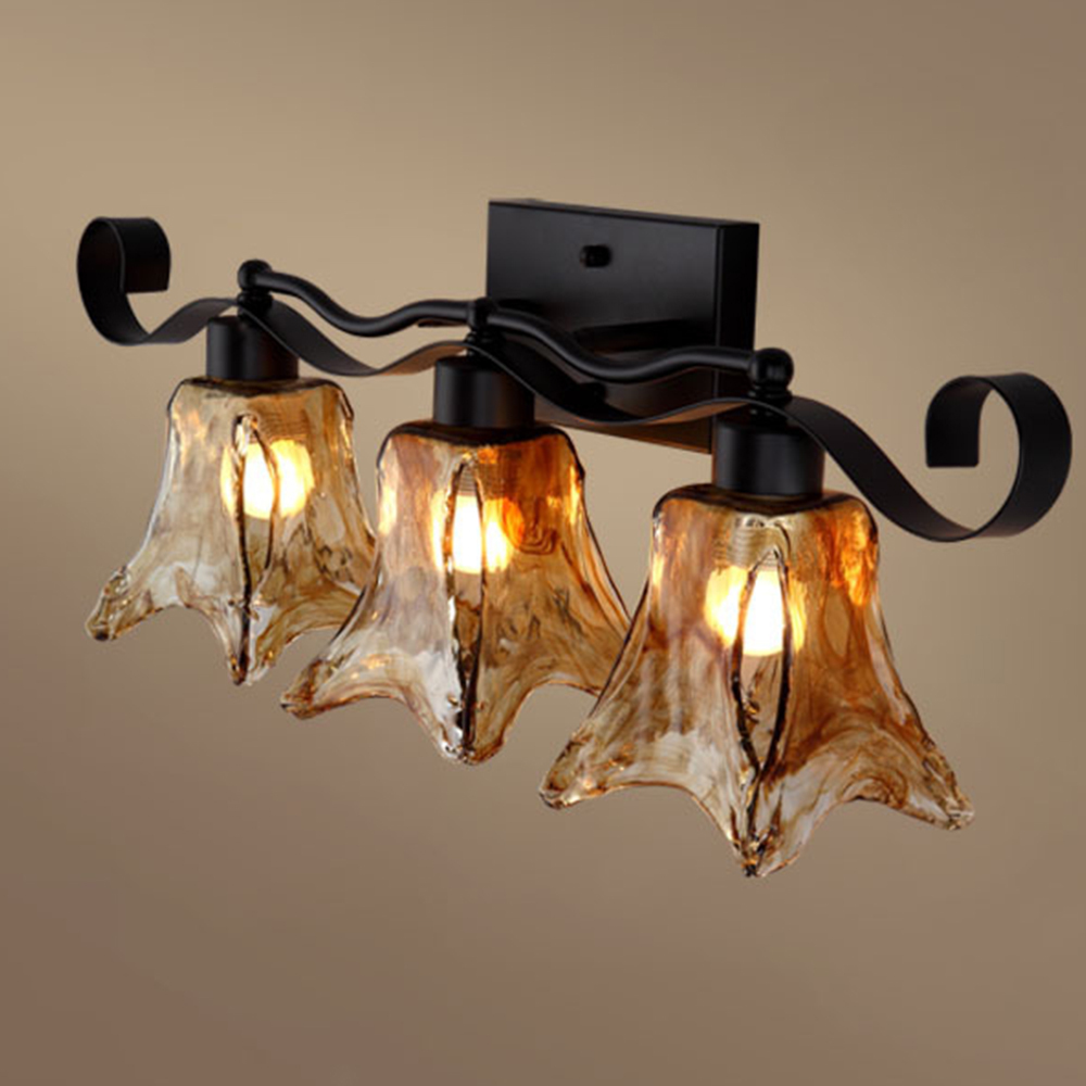 3 Heads Nordic Art Decorative Loft Country Wall Sconce Strip Amber Glassretro Wall Light Tuscan