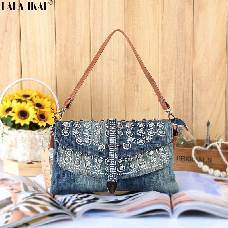 BWA156 Rhinestone Jean Denim Bags Blosa Woman Handbag  Day Clutch