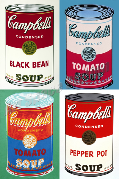 andy warhol campbell 39 s soup cans poster print on canvas 36 x24 pop art painting wall art. Black Bedroom Furniture Sets. Home Design Ideas