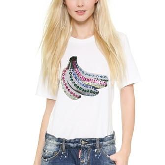 London Brand Designers Jewel Banana Alex T-shirt Chic Women's Beading Embellished Tropical Print Tees/Fruit Print Sequin Tees(China (Mainland))