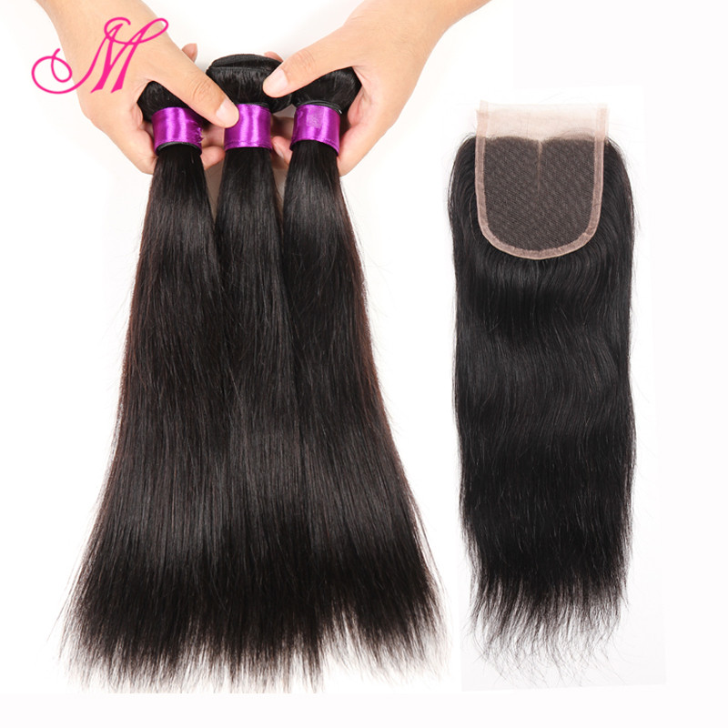 Grade 7A Unprocessed Virgin Hair With Closure Peruvian Virgin Hair 3 Bundles With Closure Peruvian Straight Hair With Closure HC<br><br>Aliexpress