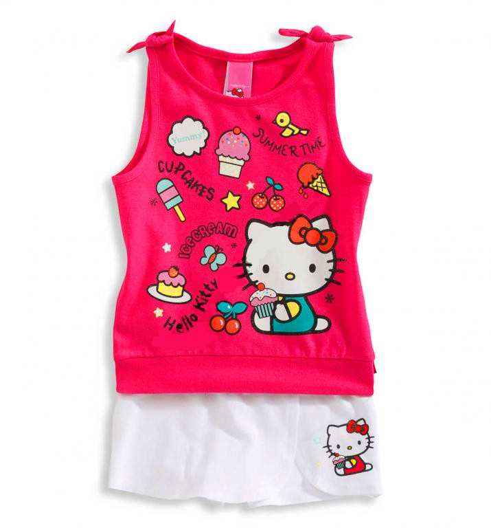 Adorable hello kitty baby girls suit/2-piece set: cute kitty vest+ white skirt/Summer cool baby clothes(China (Mainland))