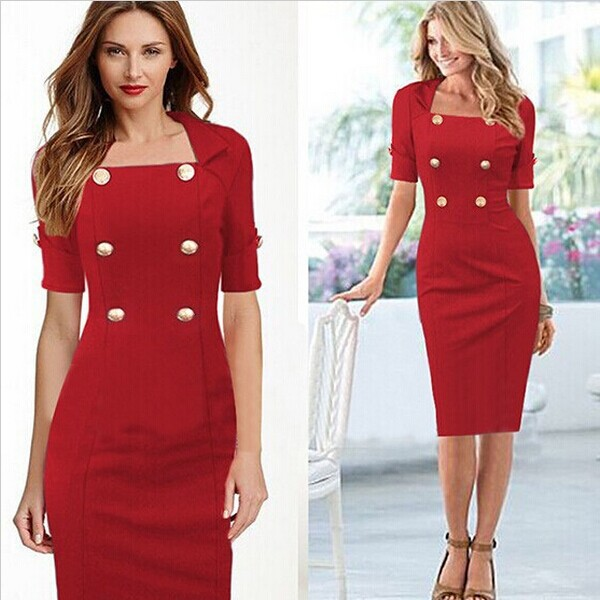 Newest High End Design Lady Elegant Red Dress Suit Half Sleeve