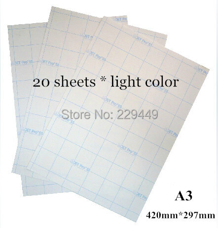 A3*20pcs Paper Light Color Inkjet Heat Transfer Printing Paper Sticker Thermal Heat Transfers With Heat Press For T shirt(China (Mainland))