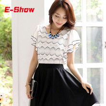 Summer Tops Woman Chiffon Lace Patchwork Blouses 2015 Ladies White Short Sleeve Shirts Casual Mujer Plus Size Blusas E387(China (Mainland))