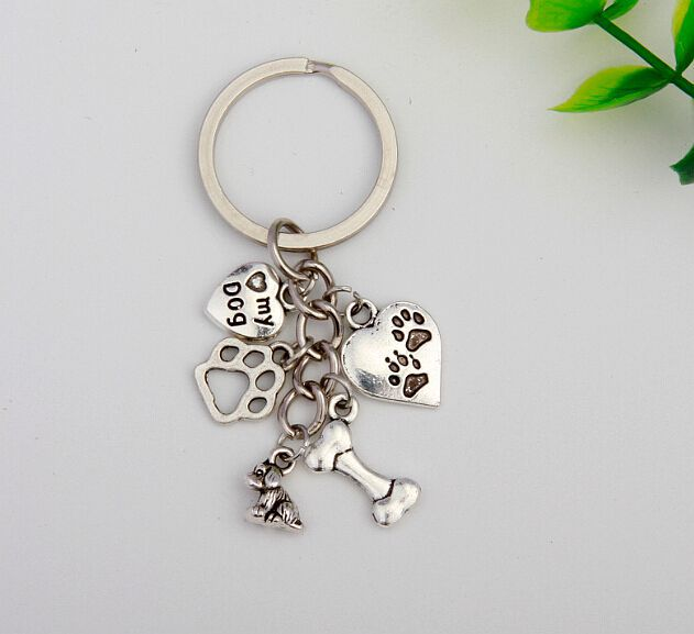 50pcs Hot Sell Fashion Jewelry Vintage Silver Heart My Dog&Dog Paw Prints&Bone Charm Steampunk DIY Fit Key Ring Accessories S836(China (Mainland))