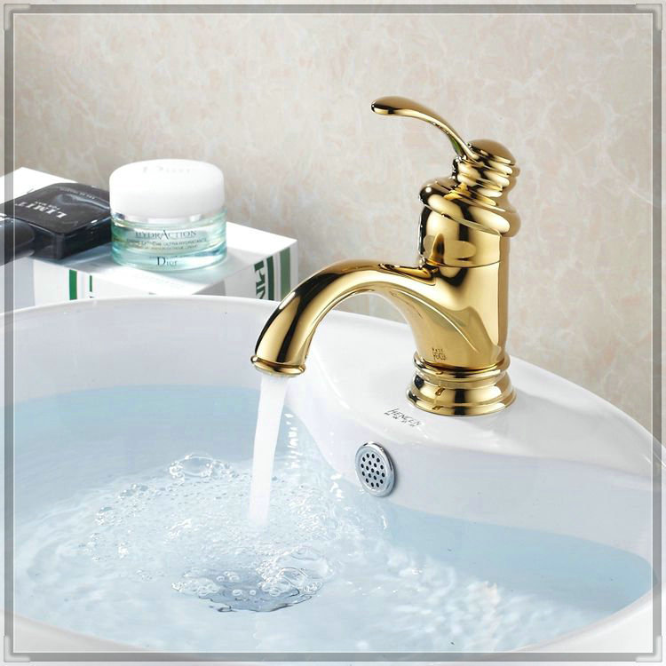 2014new Arrival Brass Counter Basin Sink Faucet Gold Cold Hot Water Fashion Sanitary Ware Bath