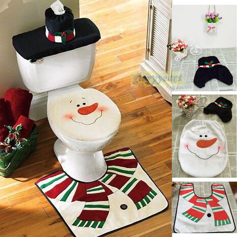 Creative Home Christmas Santa Claus Xmas Scarf Snowman Toilet Set Decor Seat Cover Tank Cover and Rug Bathroom Indoor Decor Gift(China (Mainland))