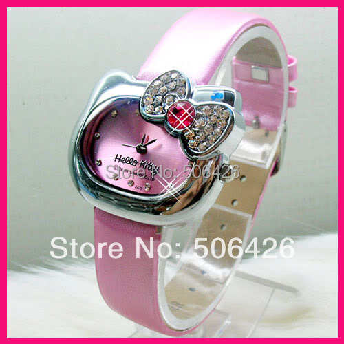 Women's crystal Free Shipping Hello Kitty Bow Tie leather watch,lady wrist watch 10pcs/lot free shipping